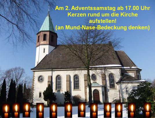 Kirche St. Josef und brennende Kerzen (Montage)