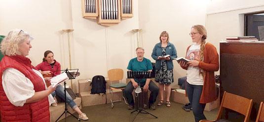 Foto während der Probe auf der Orgelbühne