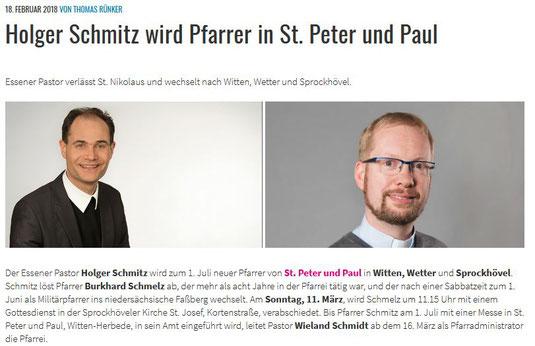 Ausschnitt aus der Homepage des Bistums Essen vom 18.02.2018