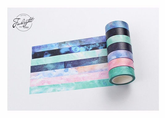 Twilight Washi Tape Galaxy Watercolor Sortiment