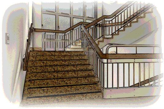 Aufgrund der schallharten Materialien müssen Treppenhäuser akustisch behandelt werden um den Lärm- und Schallschutz angrenzender Bereiche zu gewährleisten.