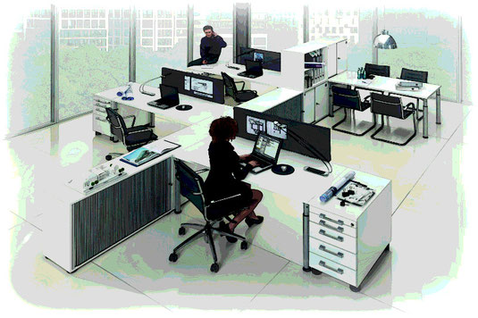 In Großraumbüros spielt die Akustik eine wichtige Rolle für die Produktivität. Steigerungen um bis zu 10% sind durch eine angenehme Akustik möglich.