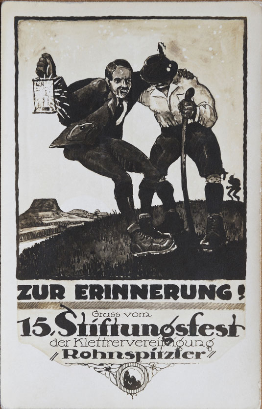 Grußkarte vom 15. Stiftungsfest der Rohnspitzler, 1919