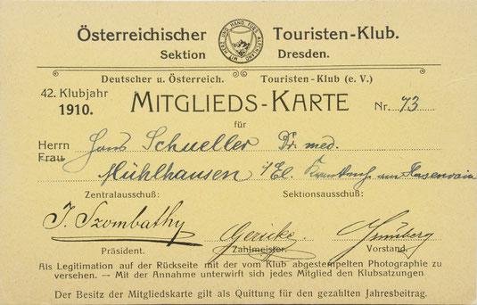Mitgliedskarte von Hanns Schueller, ÖTK, Sektion Dresden