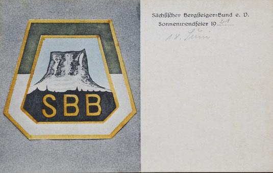 Postkarte des Sächsischen Bergsteigerbundes, um 1920