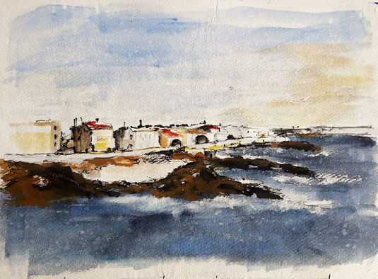 Palma de Mallorca, watercolor_2018_ plachetka