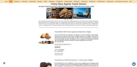 Trueffelhang.at bietet hochwertige istrische Trüffel und Trüffelprodukte im neuen Online Shop an