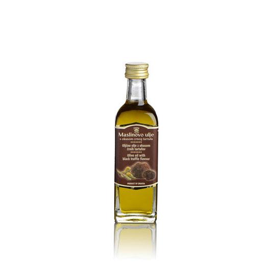 Trüffelöl mit schwarzem Trüffelgeschmack von Zigante Tartufi     Olivenöl mit schwarzem Trüffelgeschmack. Zutaten: Olivenöl, schwarzer Trüffelgeschmack (Tuber aestivum).