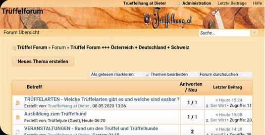 Trüffelforum - Österreichs erstes Forum rund um die Trüffel - Trüffelarten, Trüffelhunde, Trüffelrezepte, Trüffelanbau und vieles mehr. In unseren Trüffelforum von Trüffelhang.at können Sie sich mit Trüffelbegeisterten in vielen Trüffelkategorien ausstaus