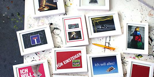 Alle Postkartenollagen (14,8 x 10,5 cm) in weißen Holzwechselrahmen (20,2 x 15,2 cm)