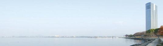 ▶びわ湖畔の風姿が美しく表情豊か。学習集中後の疲れも癒やします