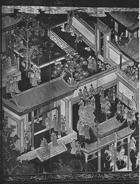 Planche VIII, détail de pl. VII. M.-J. BALLOT : Les laques d'Extrême-Orient : Chine et Japon. G. Vanoest, éditeur, Paris et Bruxelles, 1927.