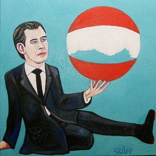 """Matthias Laurenz Gräff, """"Bella gerant alii, tu felix Austria nube. Sebastian Kurz, Der Große Diktator, Opportunist, Putschist"""", Öl auf Leinwand, 100x100 cm, 2019"""
