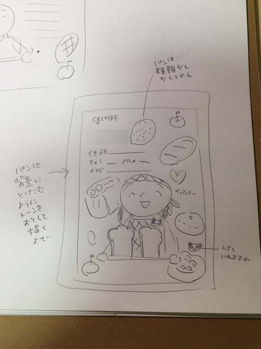 パン屋さんの名刺のラフスケッチ 茶谷順子作