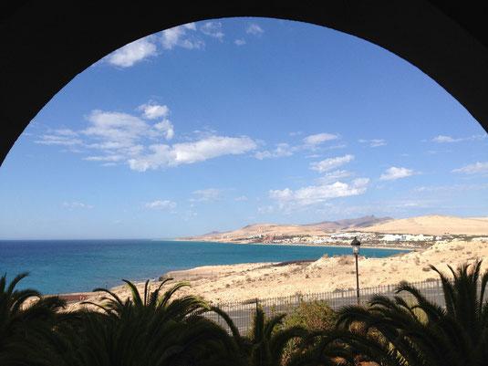 Blick vom Hotel Balkon auf die Costa Calma