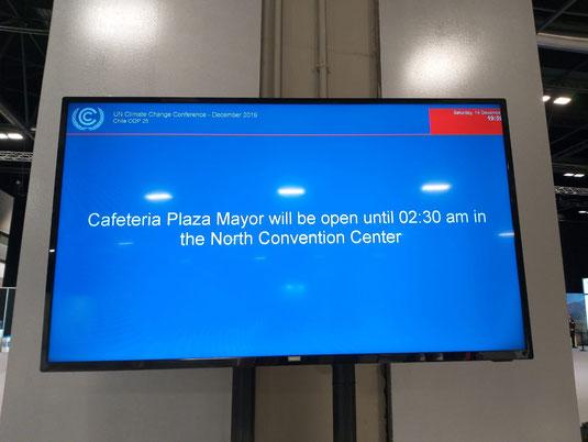 Auch die Cafeteria legt für den Verhandlungsmarathon eine Nachtschicht ein