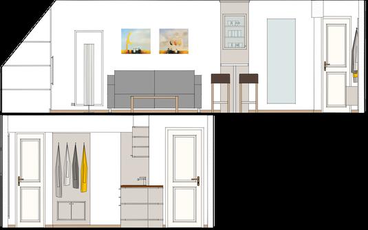 Grundriss der Wohnung in der Seitenansicht