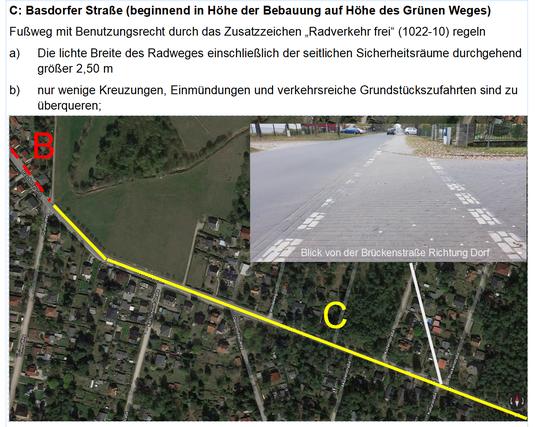 Dokumentation eines Teilabschnittes an der Basdorfer Straße