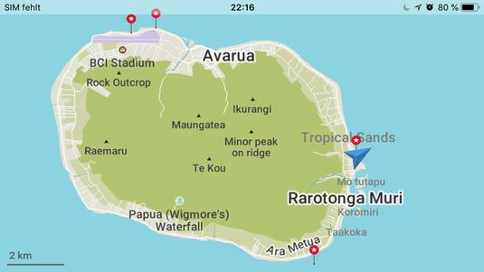 Die Cook Insel Rarotonga mit highlights gekennzeichnet.