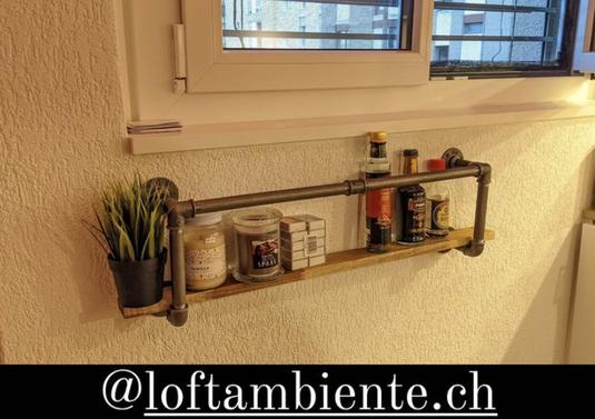 Industrie Küchenregal als Rohrregal Vintage Regal aus Wasserrohren im Industrial Stil