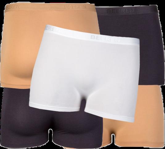 Beeren Bodywear dames boxers / boxershorts. Wit, zwart en huidskleur