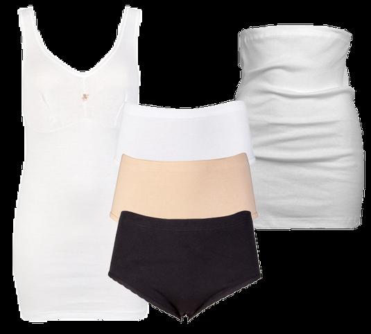 Beeren Bodywear dames klassieke lijn. Hemd met cups, slips en corsethemd. Wit, zwart en huidskleur