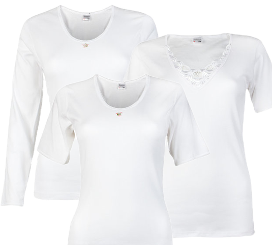 Beeren Bodywear dames shirt collectie, lange mouw, korte mouwen, met kant en zonder kant wit