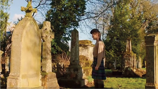 Highland Saga Film, Dougie at the grave of his Grandfather