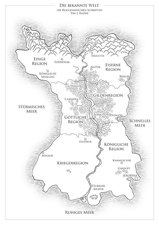 """Karte der bekannten Welt der """"rogodanischen Schriften"""""""