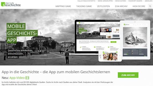 Bild: http://app-in-die-geschichte.de/, Startseite.