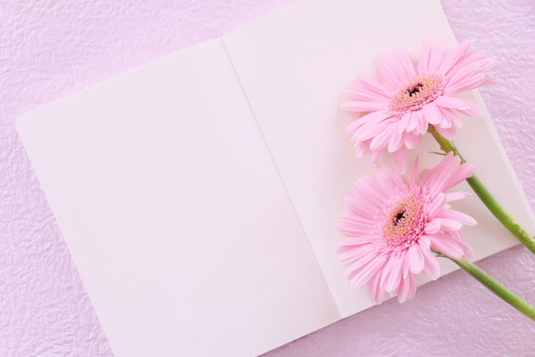 ピンクのノートパソコンの横に立てかけられた手帳とリングノート。ペン立てに立てられたボールペンとはさみ。