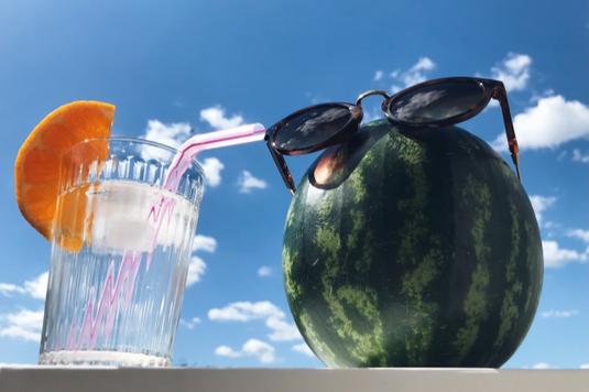 広げられたリングタイプのノートとペン。傍らに貝殻と熱帯植物の葉、麦わら帽子とサングラス。