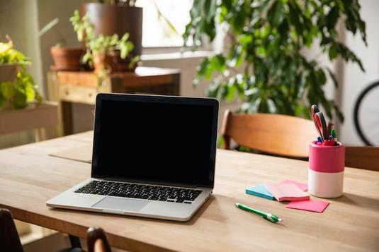 パソコンのキーボード。観葉植物のグリーン。黄色のバラとカーネーションのブーケ。レモンの輪切りが浮かんだ紅茶のカップ。