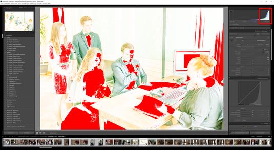 Hat sich das farbige Diagramm in eurem Histogramm von Lightroom CC nach rechtes verschoben, so habt ihr mit sehr langer Belichtungszeit fotografiert. Mit anderen Worten - zu viel Licht ist durch eurer Objektiv in die Kamera gelangt.