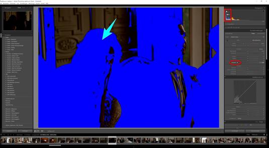 Schiebt man den Regler im Histogramm, der im Lightroom für Schwarz verantwortlich ist, nach links - so wird Schwarz hervorgehoben.  Zu starke und falsch eingestellte schwarze Flächen werden sichtbar. Wie man diese Flächen sichtbar macht, bitte im ersten A