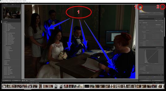 Wenn man den linken Pfeil aktiviert, erkennt man, dass unterbelichtete Bereiche im Bild sichtbar werden. So können Sie erkennen wo später mit den Reglern - Lichter, Tiefen, Weiß und Schwarz - nachgebessert werden muss.