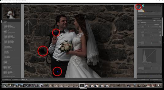 Untertreiben Sie es mit der Belichtung nicht. Achten Sie darauf, dass sich keine unterbelichteten Flächen im Bild bilden. Dies zeigt, dass zu viel Schwarz im Bild ist. Damit Sie das immer erkennen können, muss das Pfeil 1, wie auf dem Bild angegeben