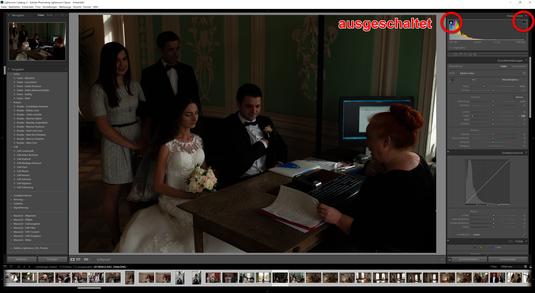 Beide Pfeile sind ausgeschaltet und Sie sehen das Bild als unentwickelte/unbearbeitete Datei.