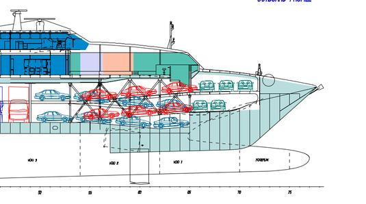 General Arangement Plan du garage du HSC Normandie Express de Brittany Ferries.