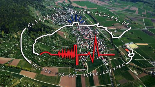 Unterjesingen, Luftbild, Logo, DRK Ammerbuch, B296, Blaulicht, Helfer vor Ort