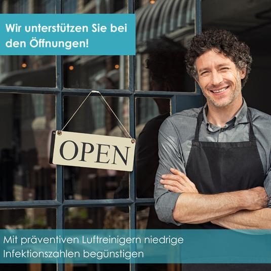 Wir unterstützen Sie bei den Öffnungen Ihrer Restaurants und Hotels mit präventiven Luftreinigern