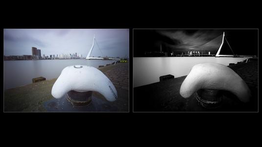 Vorher/Nachher Vergleich einer Fine Art Bearbeitung der Erasmusbrücke in Rotterdam, Niederlande