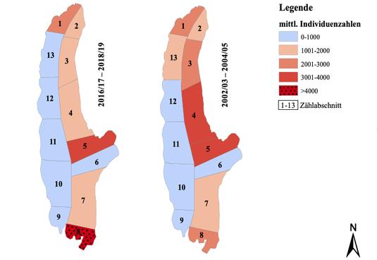 Abbildung 2: Mittlere Wintersumme (Mittel der acht Monatssummen) der beiden dreijährigen Zeitreihen von 2002/03 – 2004/05 & 2016/17 – 2018/19 [Sep.-Apr.]