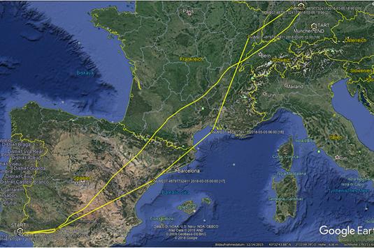 Zugroute eines Brachvogels vom Altmühltal nach Spanien - Rückflug in 25 Stunden!