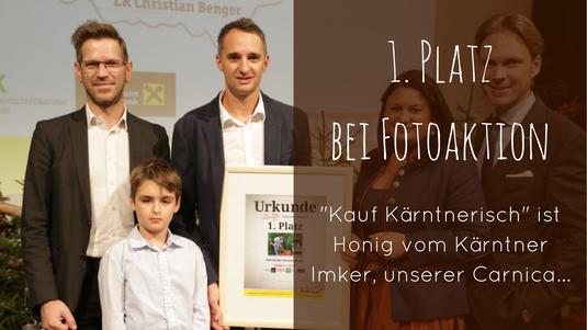"""1. Platz bei der Fotoaktion von """"Kauf Kärntnerisch"""": Imkerei Peball Gottfried mit Sohn Jacob"""