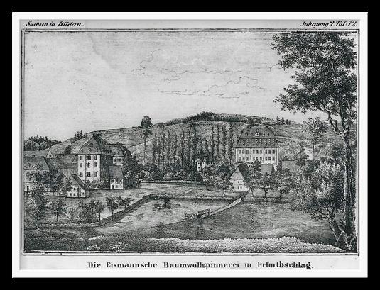 Ab 1808 Spinnereimühle Schnabel - ab 1817 Hübner - um 1840 Eismann - nach 1918 Speer / Darstellung: um 1842 Quelle: Verlag Heimatland Sachsen