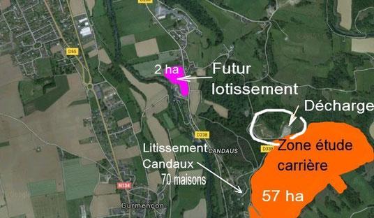 Situation # Zone étude de carrière : 57 ha et futur lotissement écolo 2 ha