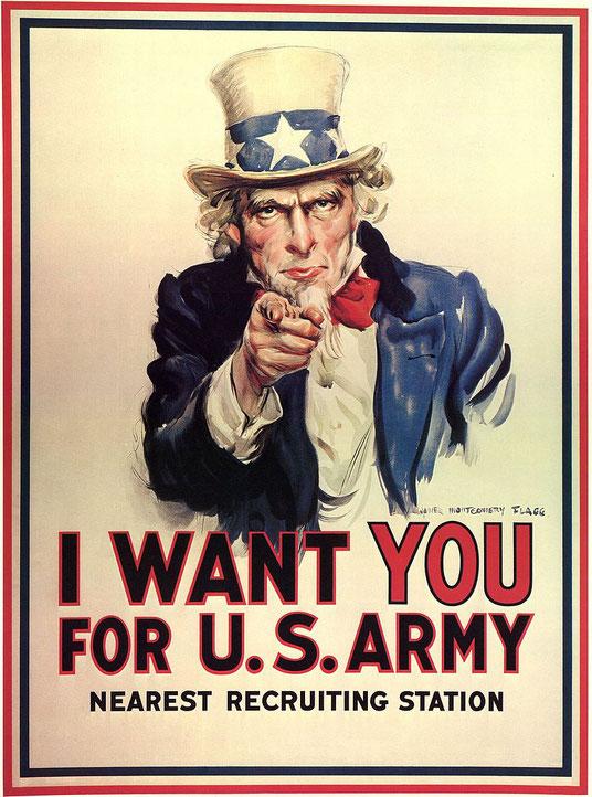 ジェームズ・モンゴメリー・フラッグ「米軍募集ポスター」(1917年)