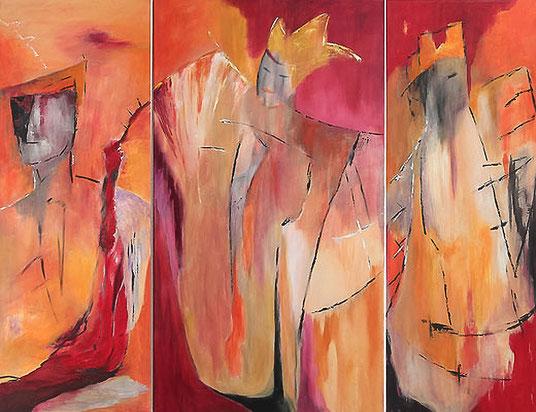 Acryl auf Leinwand 2 x 120 x 44 cm, 1x 120 x 44 cm