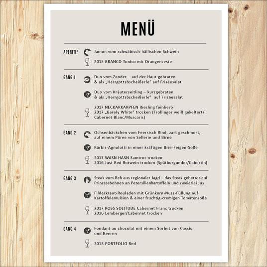 Menü, Menükarte, Design, Gourmet, Weinprobe, Wein, Jungwinzer, Winzer, Grafikdesign
